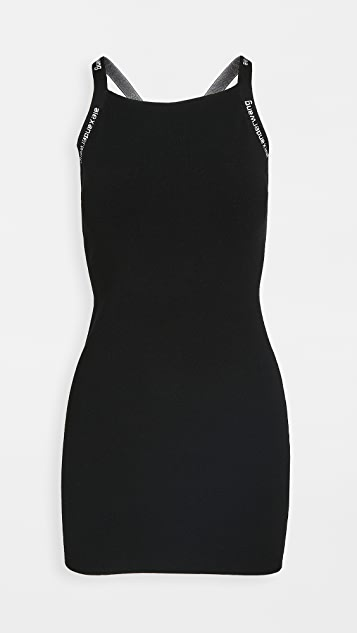 alexanderwang.t Bodycon Tank Dress with Logo Jacquard Trim