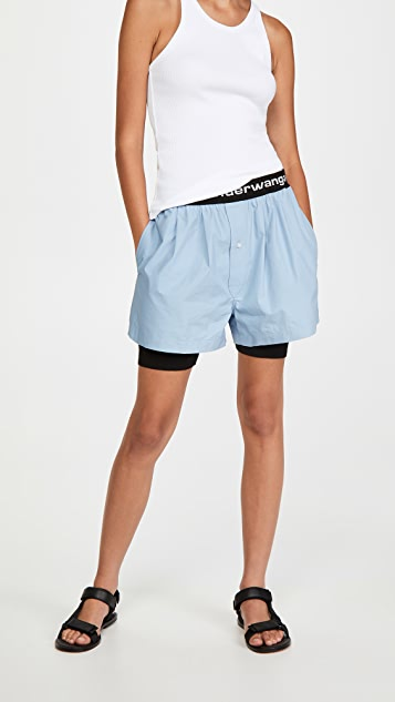 alexanderwang.t Pull-On Pleated Shorts with Logo Elastic q9gX4D1K