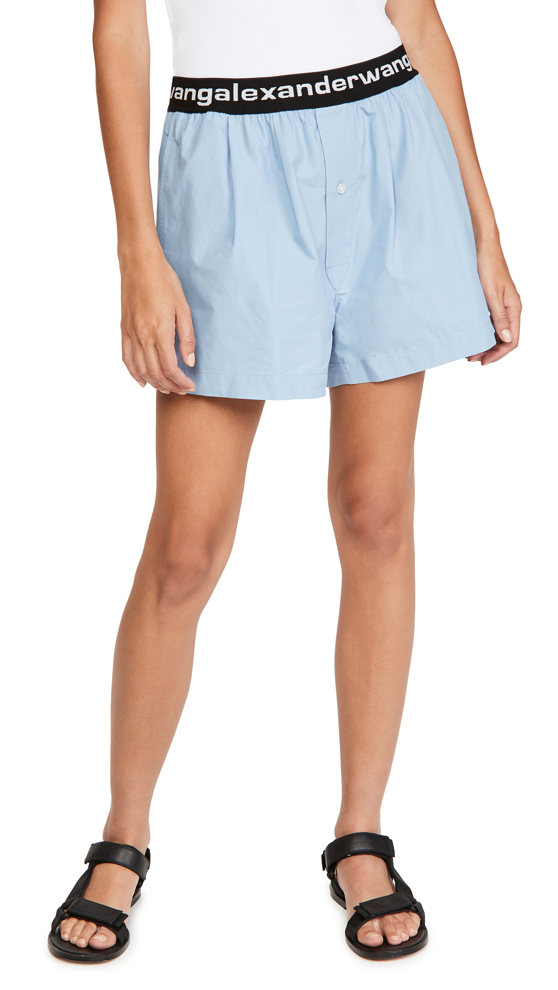 alexanderwang.t Pull-On Pleated Shorts with Logo Elastic