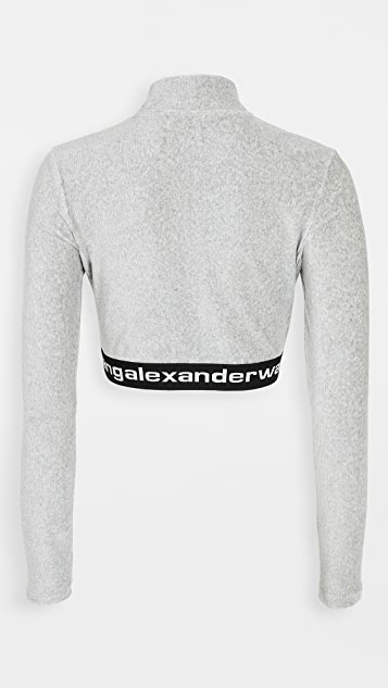 alexanderwang.t Stretch Corduroy Crop Top with Logo