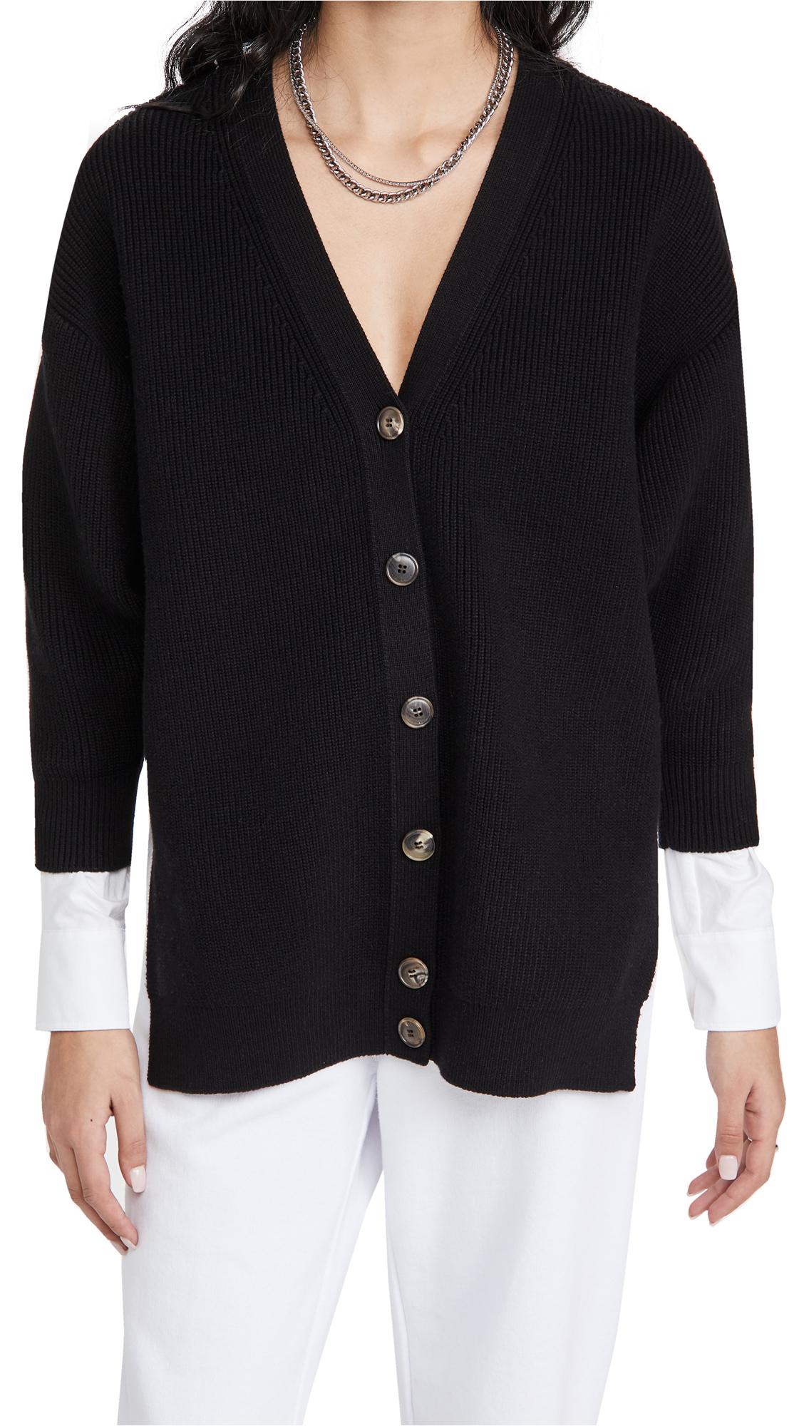 alexanderwang.t Bi-Layer V Neck Cardigan with Oxford Shirting