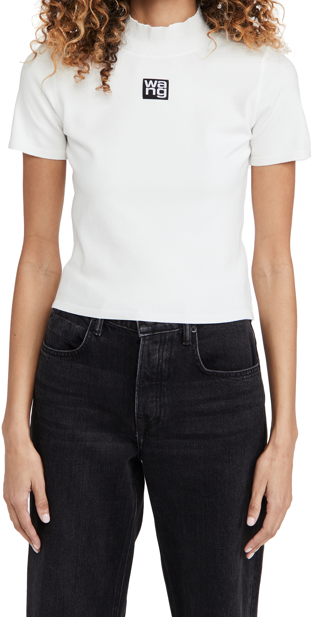 alexanderwang.t Foundation Bodycon Short Sleeve Mock Neck Top