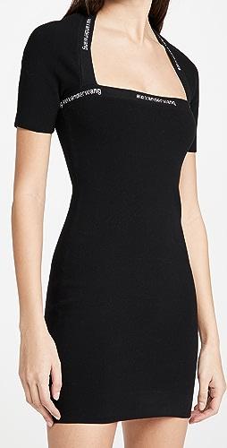 alexanderwang.t - Bodycon Dress with Logo Jacquard Trim