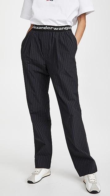 alexanderwang.t 徽标弹性带褶皱长裤