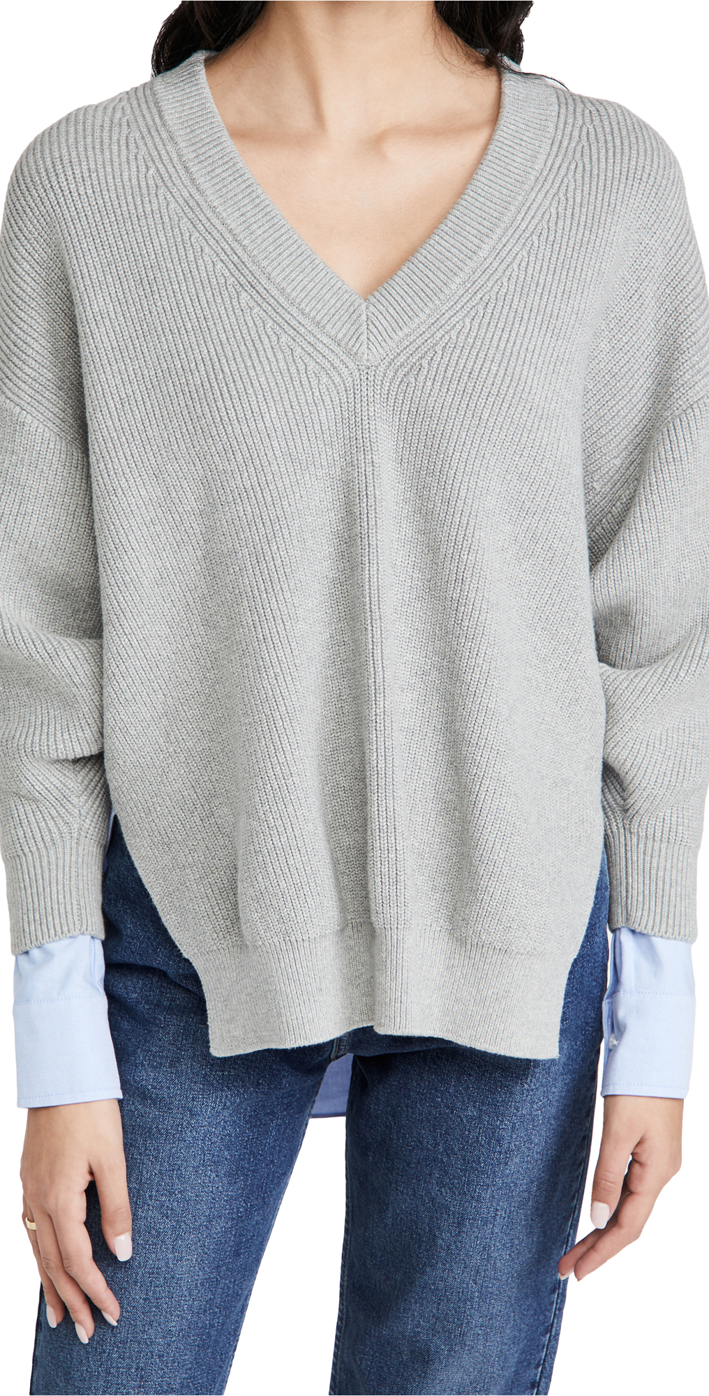 alexanderwang.t Bi-Layer V Neck Pullover with Oxford Shirting