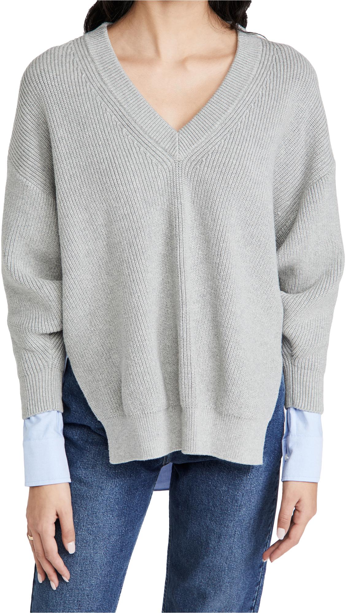 alexanderwang.t Bi-Layer V Neck Pullover with Oxford Shirting