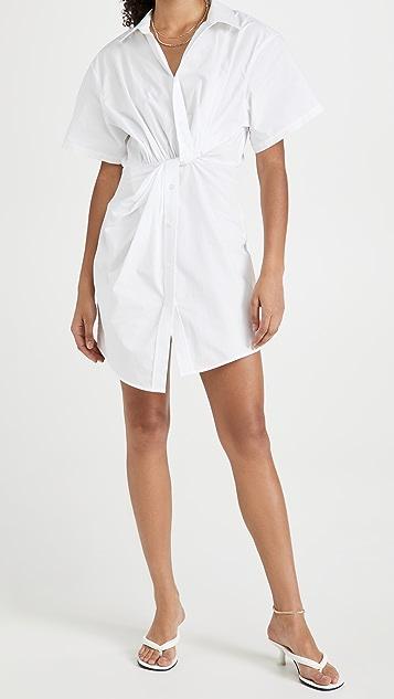 alexanderwang.t Twisted Placket Short Sleeve Dress