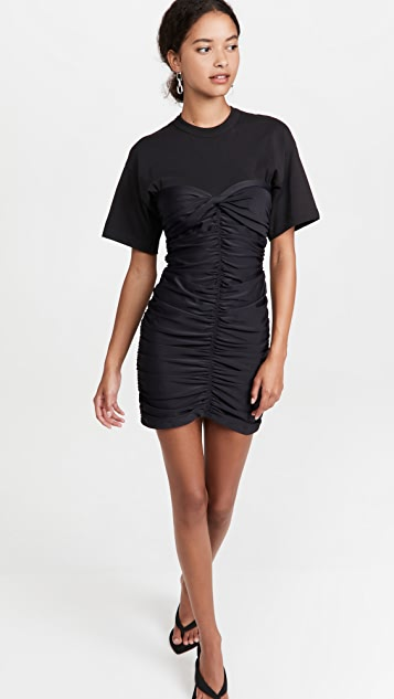 alexanderwang.t Ruched Bodycon Mini Dress with Integrated Short Sleeve Tee