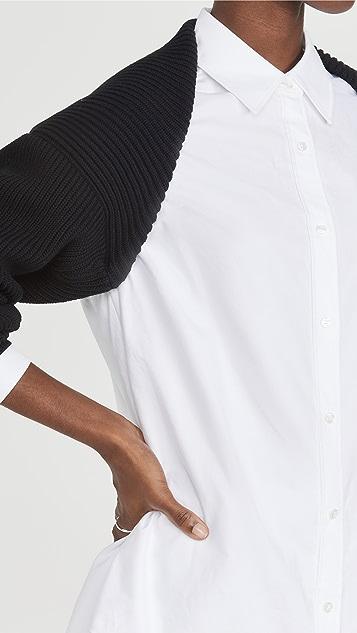alexanderwang.t 内置套衫牛津布双层系扣上衣