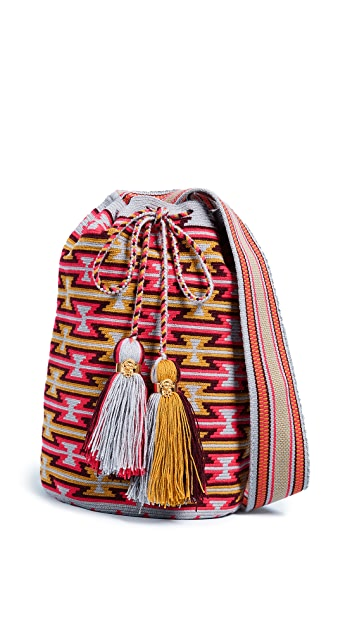 The Way U Solid and Striped Large Mochila Bag