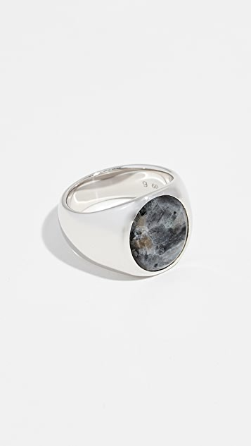 TOM WOOD Oval Larvikite Ring