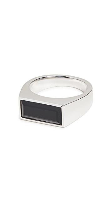 TOM WOOD Peaky Ring Polished Black Onyx