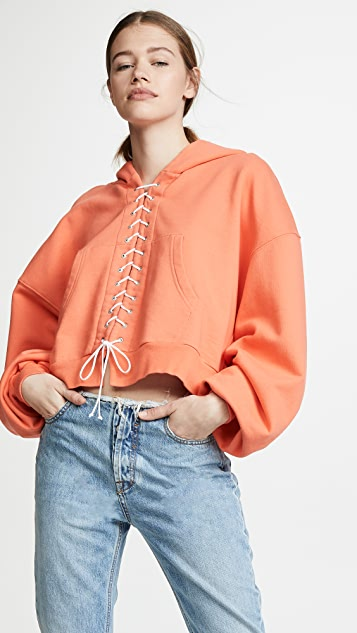 Unravel Project Lace Up Hoodie - Faded Orange