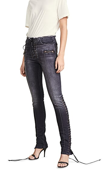 Unravel Project Lace Up Flare Jeans