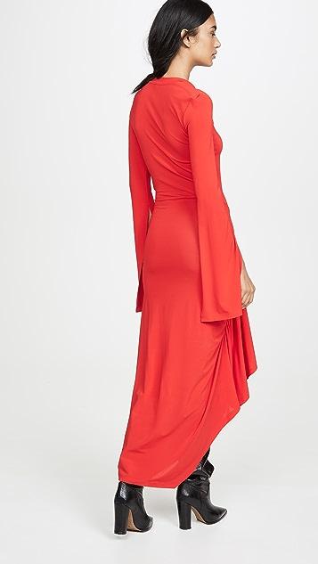 Unravel Project 扭褶开口袖连衣裙