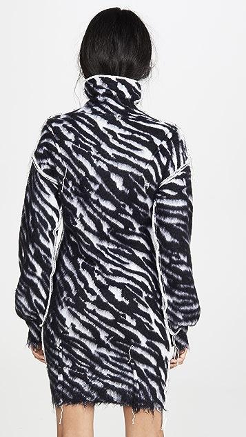 Unravel Project 斑马高领毛衣连身裙