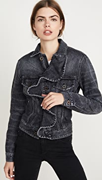 Vintage Spray Denim Ruffle Jacket