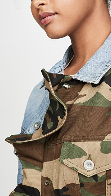 Unravel Project Hybrid Denim Ruffle Jacket