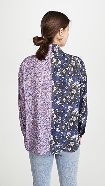 Unravel Project Viscose Flowers Draped Shirt