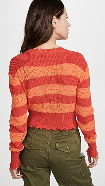 Unravel Project Stripes Distressed Sweater