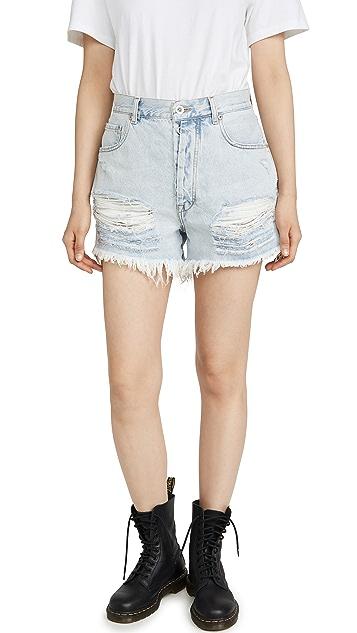 Unravel Project 浅蓝色做旧牛仔布短裤