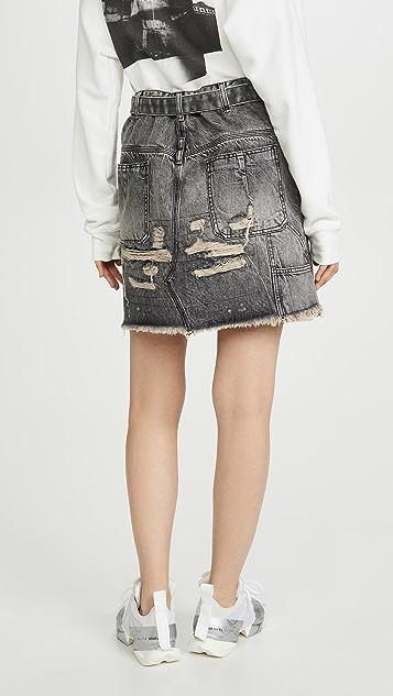 Unravel Project Moonwash Repaired Denim Skirt
