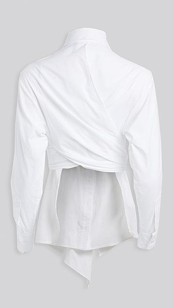 Unravel Project 心形交叠结饰衬衫