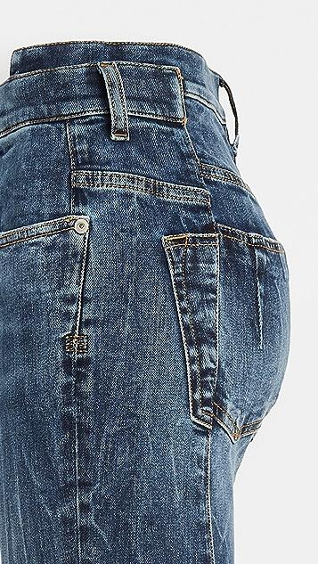Unravel Project 深蓝色水洗直筒紧身牛仔裤