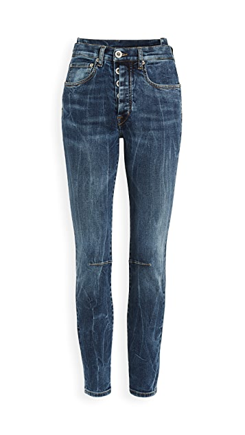 Unravel Project Dark Blue Wash Shifted Skinny Jeans