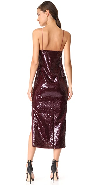 Vatanika High Zip Slit Sequin Slip Dress