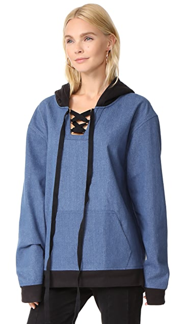 Vatanika Cotton Blended Denim Oversized Hooded Top