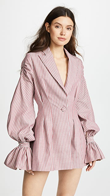 Vatanika Pinstriped Ruffle Blazer Dress
