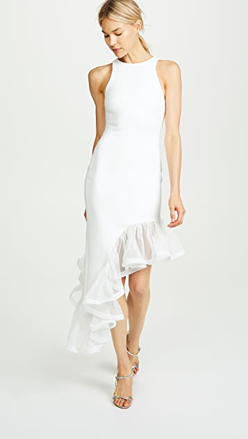 Vatanika Ruffle Hem Asymmetrical Dress