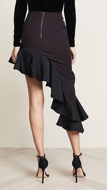 Vatanika Asymmetrical Ruffle Hem Skirt