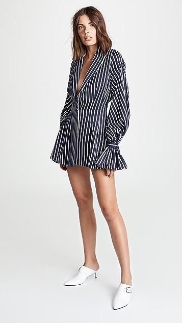 Vatanika Pinstripe Ruffle Blazer Dress
