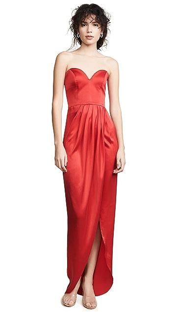 Vatanika Шелковое вечернее платье с драпировкой