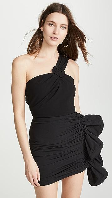 Vatanika One Shoulder Ruffle Mini Dress - Black