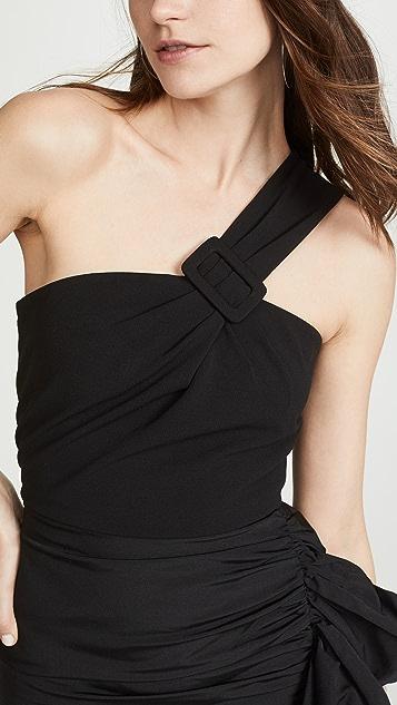 Vatanika Мини-платье с открытым плечом и оборками