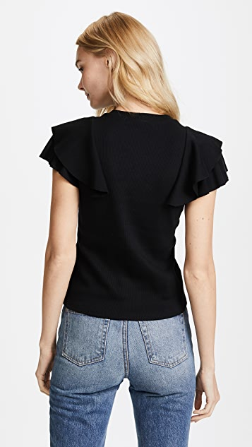 Veronica Beard Jean Bea Ruffle Top