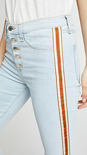 Veronica Beard Jean Carolyn Baby Bootcut Jeans with Fraying
