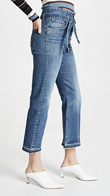 Veronica Beard Jean Marlene Corset Straight Leg Jeans