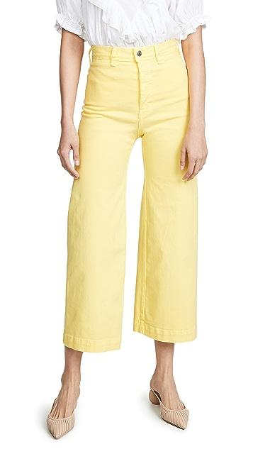 Veronica Beard Jean Cynthia Cropped Wide Leg Jeans