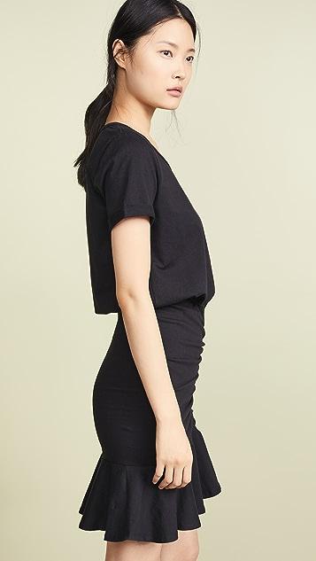Veronica Beard Jean Pima Ruched Dress w/ Flounce
