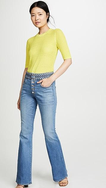 Джинсы Veronica Beard Расклешенная модель Beverly с заплетенной колосом отделкой