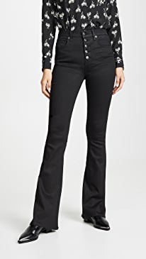 Beverly High Rise Flare Jeans with Exposed Fly