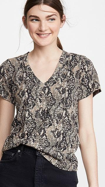 Veronica Beard Jean Casey V Neck Snake Skin Print