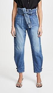 Veronica Beard Jean Addie 纸包高腰锥形牛仔裤