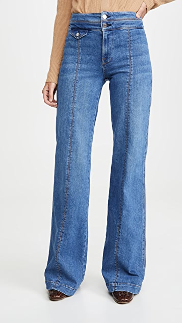 Veronica Beard Jean Ember Wide Leg Jeans With Seam Detail