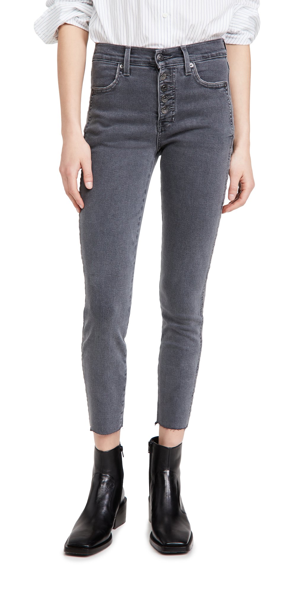 Veronica Beard Jean Debbie High Rise Jeans with Piping and Raw Hem