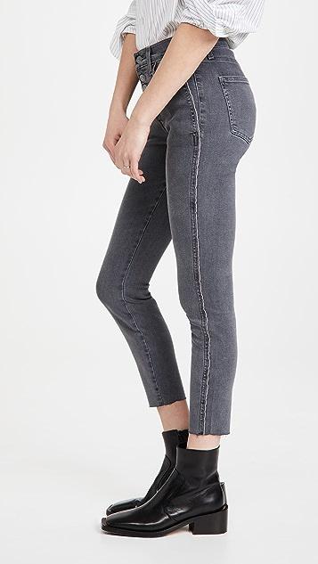 Veronica Beard Jean Debbie 滚边和毛边裤脚高腰牛仔裤